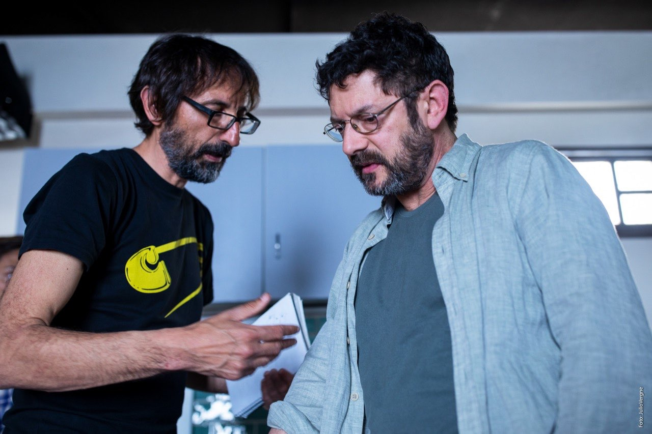 Manolo Solo y Paco Baños durante el rodaje