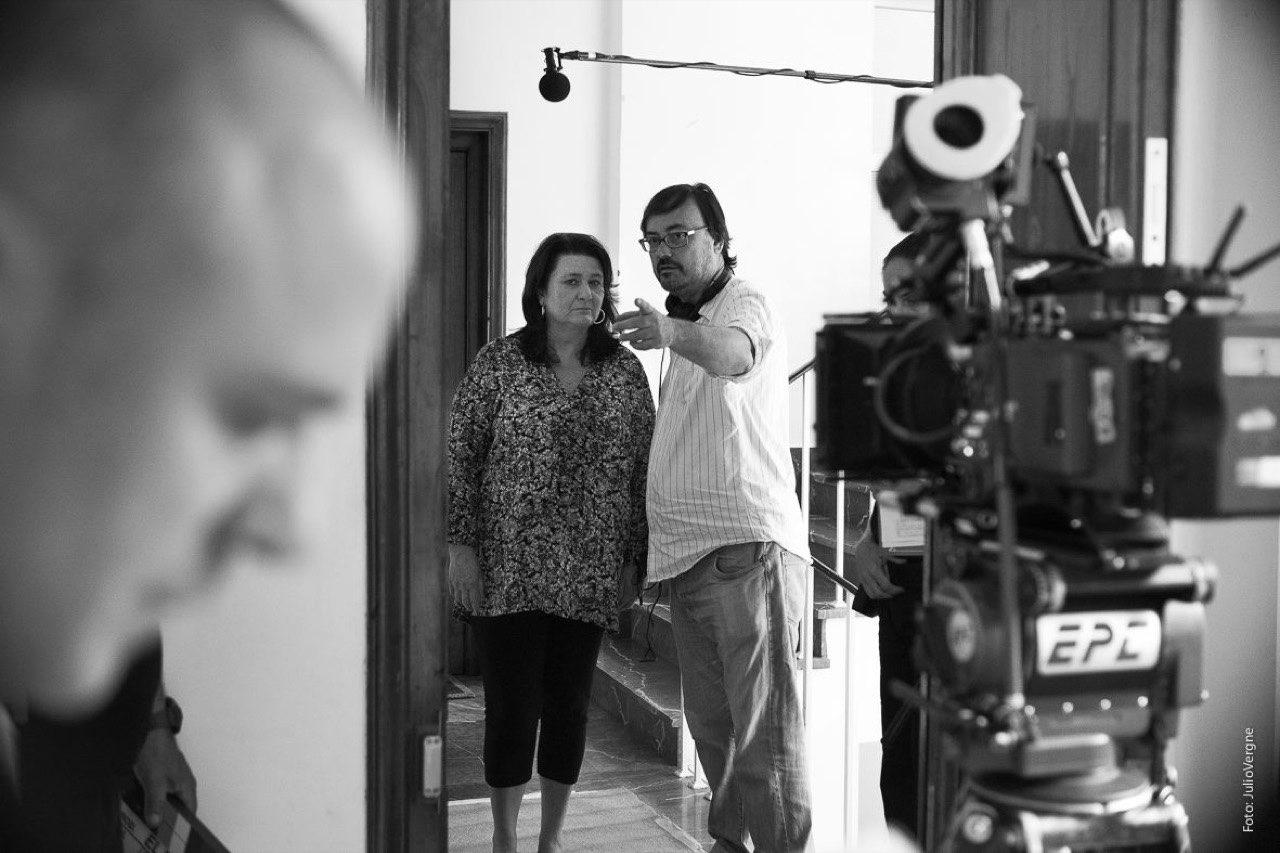 Manuel Martín y Adelfa Calvo durante el rodaje