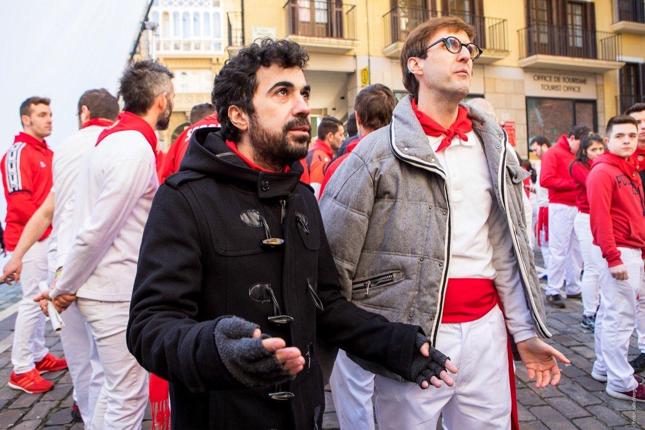 Paco Caballero y Julian López durante el rodaje
