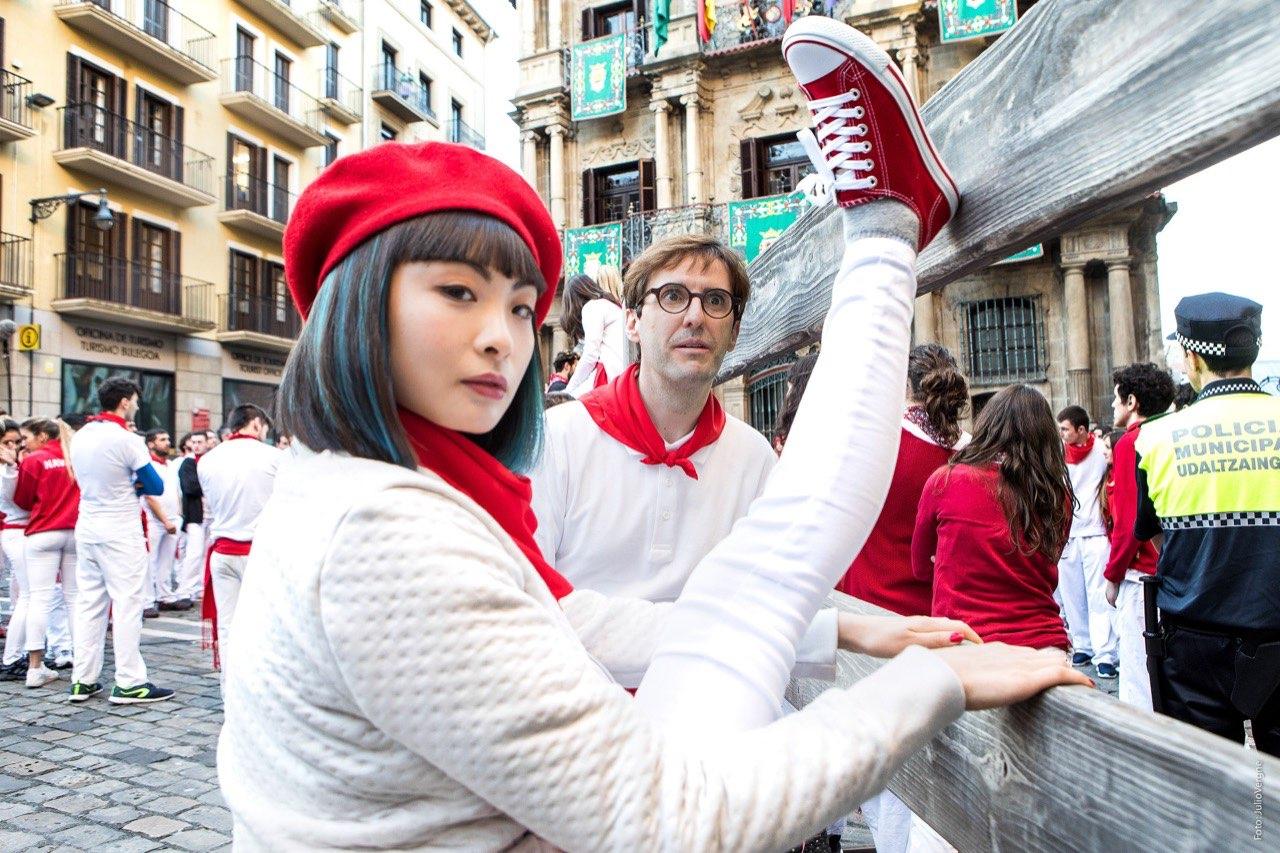 Julian López y Chacha Huang durante el rodaje